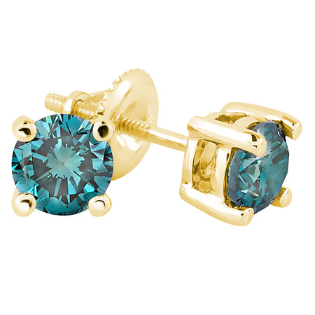 Round Cut Blue Diamond Solitaire 4-Prong Stud Earrings with Screwbacks in Yellow Gold - #R418-Y-BLUE