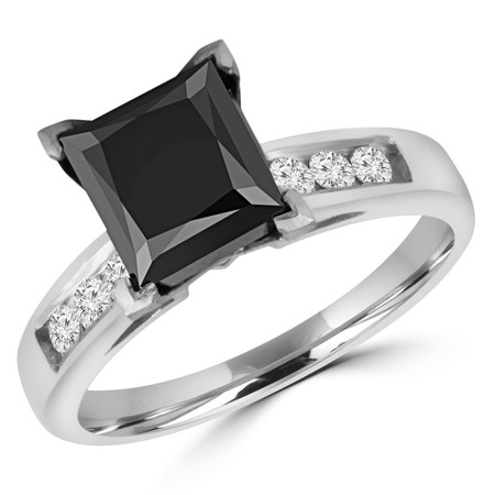 Princess Cut Black Diamond Multi-Stone 6-Prong Engagement Ring with Round White Diamond Channel-Set Accents in White Gold - #SM512-W-PR-BLK