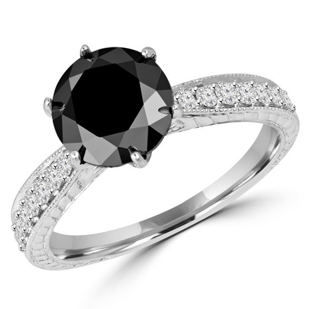 Round Cut Black Diamond Multi-Stone 6-Prong Vintage Engagement Ring with Round Diamond Accents in White Gold - #HR6207-W-BLK