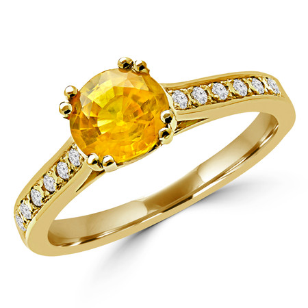 Round Cut Yellow Sapphire Gemstone Multi-Stone 4 Double-Prong Cathedral-Set Vintage Engagement Ring with Round White Diamond Accents in Yellow Gold - #SM2361-Y-Y-SAPP