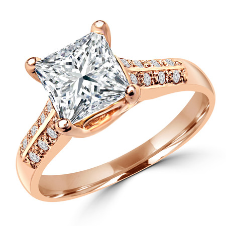 Princess Cut Diamond Multi-Stone 4-Prong Engagement Ring with Round Diamond Accents in Rose Gold - #LR1853-R-PR