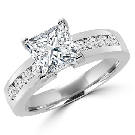 Princess Cut Diamond Multi-Stone V-Prong Engagement Ring with Round Channel Set Diamond Accents in White Gold - #2074LP-W