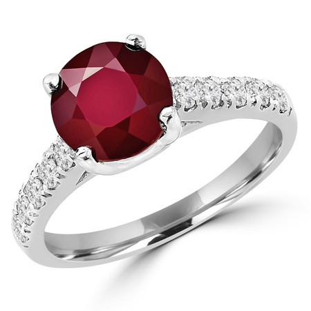Round Cut Red Ruby Gemstone Multi-Stone 4-Prong Cathedral-Set Vintage Engagement Ring with Round White Diamond Accents in White Gold - #SM1991-W-RUBY