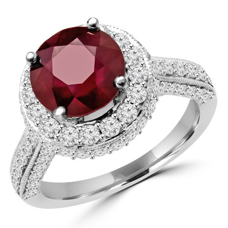 Round Cut Red Ruby Gemstone Multi-Stone 4-Prong Vintage Halo Engagement Ring with Round Diamond Accents in White Gold - #HR6260-W-RUB