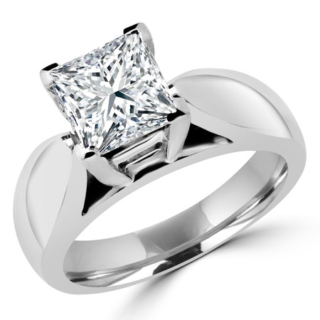 Princess Cut Diamond Solitaire V-Prong Cathedral-Set Wide-Band Engagement Ring in White Gold - #1133LP-W