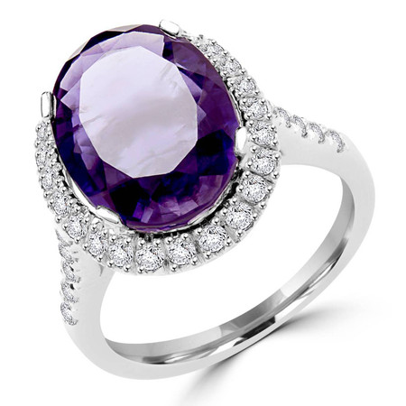 Oval Cut Purple Iolite Gemstone Multi-Stone 4-Prong Halo Ring with Round Diamond Accents in White Gold - #FRHT9941-W-IO