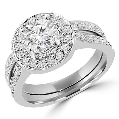Round Cut Diamond Multi-Stone 4-Prong Vintage Cathedral-Set Halo Engagement Ring and Wedding Band Bridal Set with Round Diamond Accents in White Gold - #2502WS-W-SET