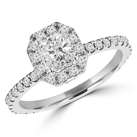 Radiant Cut Diamond Multi-Stone 4-Prong Vintage Halo Engagement Ring with Round Diamond Accents in White Gold - #LOCAL-R-RAD-W