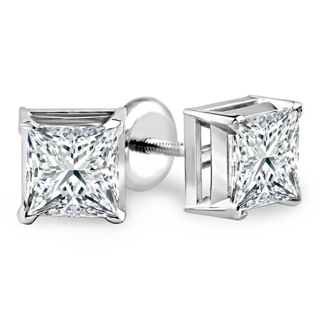 Princess Cut Diamond Solitaire V-Prong Stud Earrings with Screwbacks in White Gold - #S420-W
