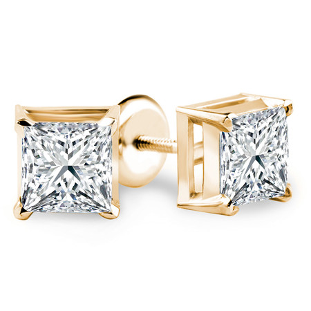 Princess Cut Diamond Solitaire V-Prong Stud Earrings with Screwbacks in Yellow Gold - #S420-Y