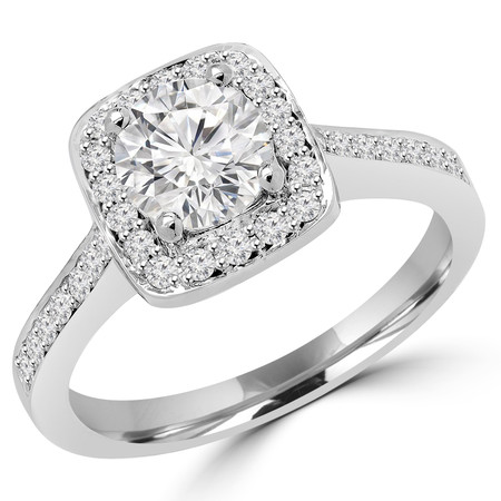 Round Cut Diamond Vintage Multi-Stone Halo 4-Prong Engagement Ring with Round Diamond Accents in White Gold - #2566L-W