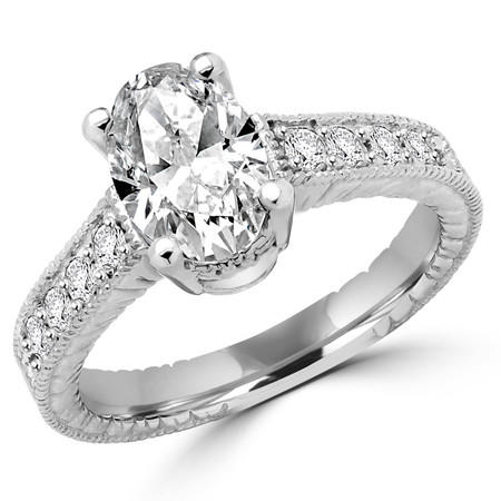 Oval Cut Diamond Milgrain Vintage Multi-Stone 4-Prong Engagement Ring with Round Diamond Accents in White Gold - #1880L-W-OV
