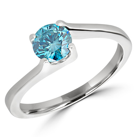 Round Cut Ocean Blue Diamond Solitaire 4-Prong Bypass Engagement Ring in White Gold - #HR6951-W-BLUE