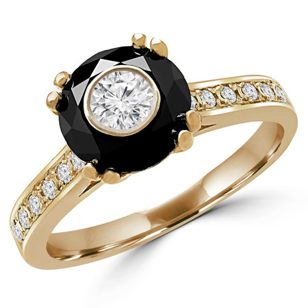 Round Cut Diamond Bezel-Set Inside Round Black Diamond Multi-Stone 4 Double-Prong Cathedral-Set Vintage Engagement Ring with Round White Diamond Accents in Yellow Gold - #SM2361-Y-SIM