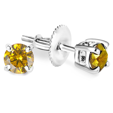 Round Cut Canary Yellow Diamond Solitaire 4-Prong Stud Earrings with Screwbacks in White Gold - #R418-W-YELLOW