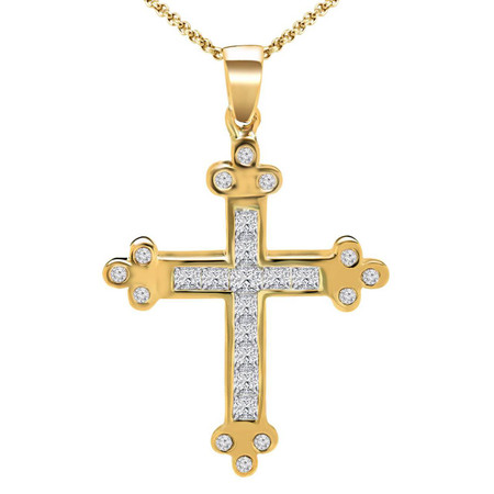 Princess Cut Diamond Multi-Stone Channel-Set Cross Pendant with Round Bezel-Set Diamond Accents & Chain in Yellow Gold - #MIKE-CROSS-Y
