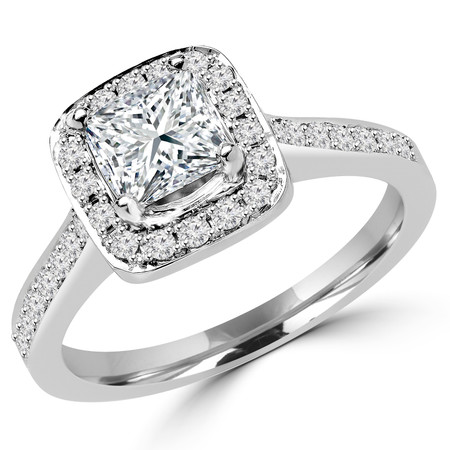 Princess Cut Diamond Vintage Multi-Stone Halo 4-Prong Engagement Ring with Round Diamond Accents in White Gold - #2566LP-W