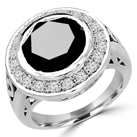 Round Cut Black Diamond Cocktail Bezel-Set Multi-Stone Halo Ring with Round Diamond Accents in White Gold - #2027L-W-BLK