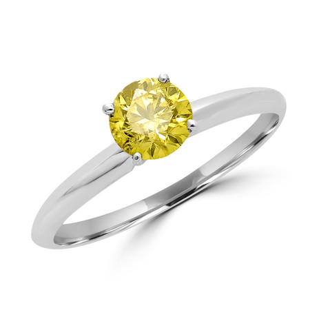 Round Cut Canary Yellow Diamond Solitaire 4-Prong Engagement Ring in White Gold - #S4R-W-YELLOW