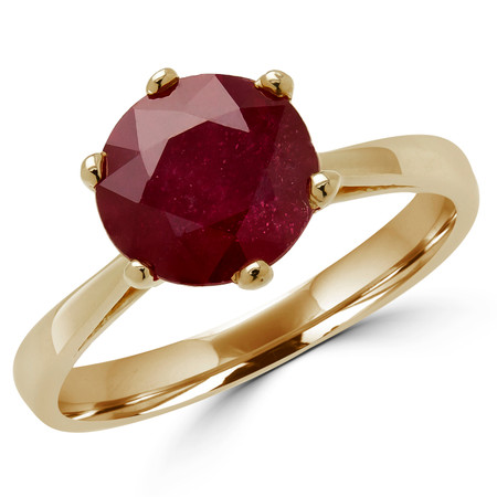 Round Cut Red Ruby Gemstone Solitaire 6-Prong Cathedral-Set Tapered-Shank Engagement Ring in Yellow Gold - #SRD2600-Y-RUBY