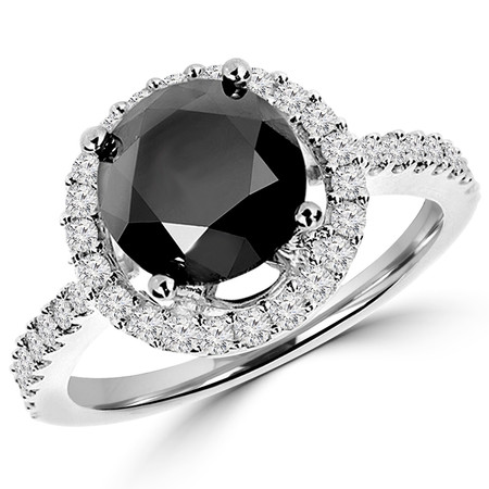 Round Cut Black Diamond Multi-Stone 4-Prong Vintage Halo Engagement Ring with Round Diamond Accents in White Gold - #HR6212-W-BLK