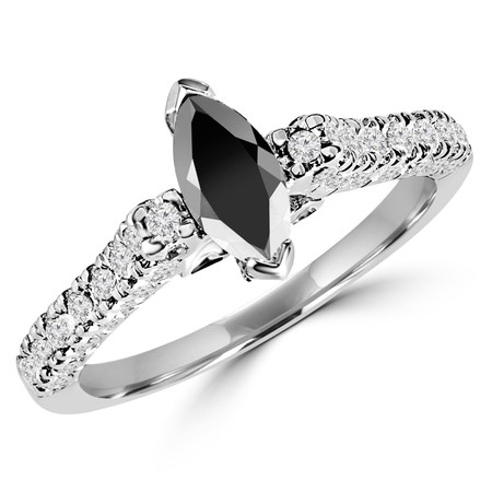 Marquise Cut Black Diamond Multi-Stone V-Prong Engagement Ring with Round White Diamond Accents in White Gold - #HR6704-W-BLK
