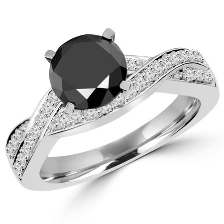 Round Cut Black Diamond Infinity Multi-Stone 4-Prong Engagement Ring with Round Diamond Accents in White Gold - #HR5006-W-BLK
