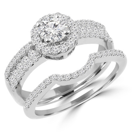 Round Cut Diamond Multi-Stone 4-Prong Vintage Halo Engagement Ring & Wedding Band Bridal Set with Round Prong & Channel-Set Diamond Accents in White Gold - #HR6550A-B-W