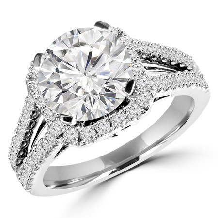 Round Cut Diamond Multi-Stone Split-Shank 4-Prong Halo Vintage Engagement Ring with Round Diamond Accents in White Gold - #HR6200-W