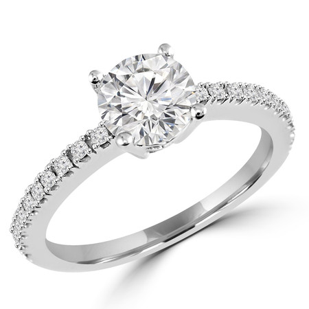 Round Cut Diamond Multi-Stone 4-Prong Engagement Ring with Round Diamond Scallop-Set Accents in White Gold - #HR6266-W