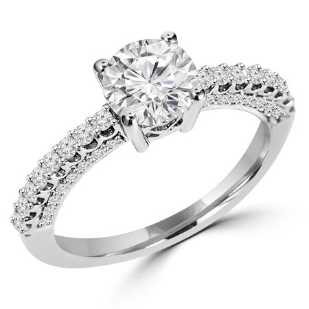 Round Cut Diamond Multi-Stone 4-Prong Vintage Engagement Ring with Round Diamond Scallop-Set & Pave Accents in White Gold - #HR6213-W