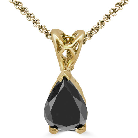 Pear Cut Black Diamond Solitaire Pendant Necklace with Chain in Yellow Gold - #PPF2-PEAR-BLACK-Y