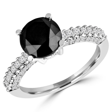 Round Cut Black Diamond Multi-Stone 4-Prong Vintage Engagement Ring with Round Diamond Scallop-Set & Pave Accents in White Gold - #HR6213-W-BLK