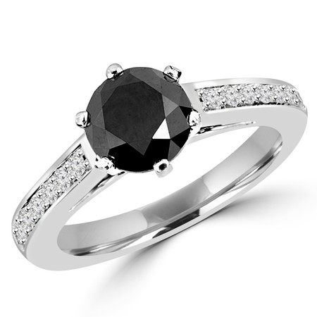 Round Cut Black Diamond Multi-Stone Cathedral-Set 6-Prong Engagement Ring with Round Diamond Accents in White Gold - #HDR3362-W-BLK