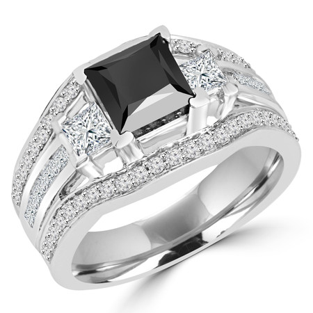 Princess Cut Black Diamond Multi-Stone V-Prong Vintage Engagement Ring with Round & Princess Cut White Diamond Accents in White Gold - #HR8029-W-BLK
