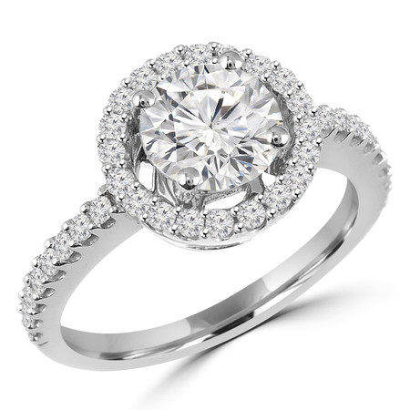 Round Cut Diamond Multi-Stone 4-Prong Vintage Halo Engagement Ring with Round Diamond Scallop-Set Accents in White Gold - #HR6212-W
