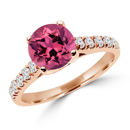 Round Cut Pink Tourmaline Gemstone Multi-Stone 4-Prong Cathedral-Set Engagement Ring with Round White Diamond Accents in Rose Gold - #SM1991-R-TOUR