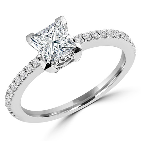 Princess Cut Diamond Multi-Stone 4-Prong Engagement Ring with Round Diamond Accents in White Gold - #HR6266-W-PR