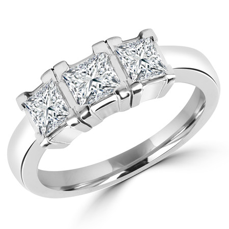 Princess Cut Diamond Three-Stone V-Prong Engagement Ring in White Gold - #IMP-R-D-W
