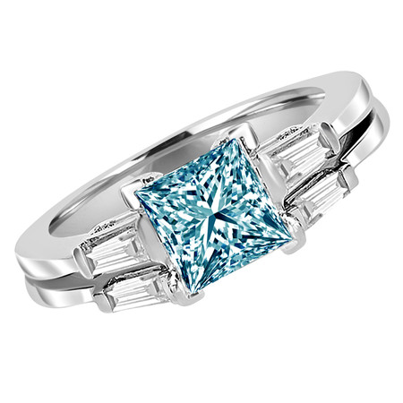 Princess Cut Blue Diamond Multi-Stone V-Prong Engagement Ring & Wedding Band Bridal Set with Baguette Cut White Diamond Accents in White Gold - #HR8092A-B-W-BLUE