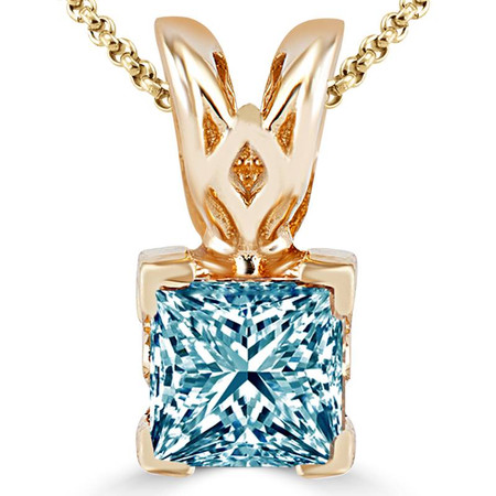 Princess Cut Blue Diamond Solitaire V-Prong Pendant Necklace with Chain in Yellow Gold - #PSF-Y-BLUE