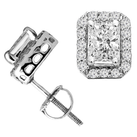 Radiant Cut Diamond Multi-Stone 4-Prong Halo Stud Earrings with Round Cut Diamond Accents with Screwbacks in White Gold - #IEHT0084-W