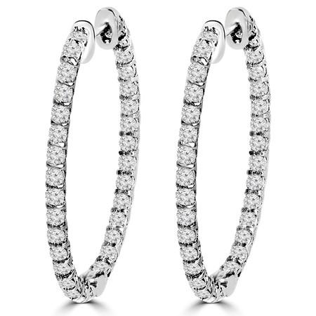 Round Cut Diamond Oval Shaped Inside Outside Hoop Multi-Stone Bar-Set Earrings in White Gold - #E332