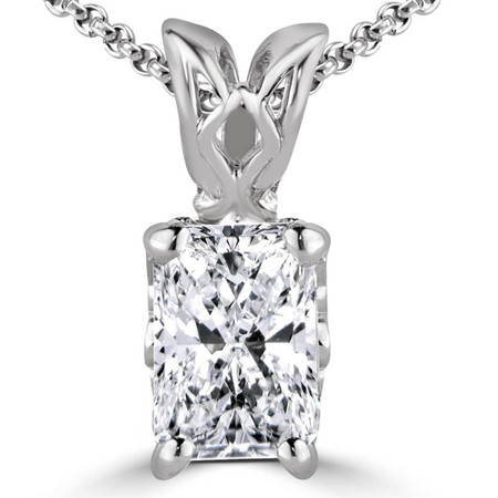 Radiant Cut Diamond Solitaire 4-Prong Decorative-Bail Pendant Necklace with Chain in White Gold - #PEF-W-RAD