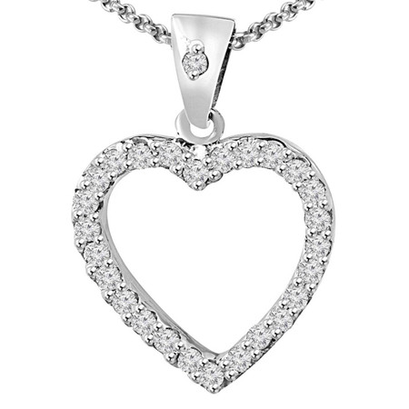 Round Cut Diamond Multi-Stone Shared-Prong Heart Shape Pendant Necklace with Chain in White Gold - #MD-P-HEART-R-W