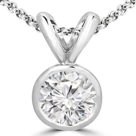Round Cut Diamond Solitaire Bezel-Set Pendant Necklace with Chain in White Gold - #R720-W