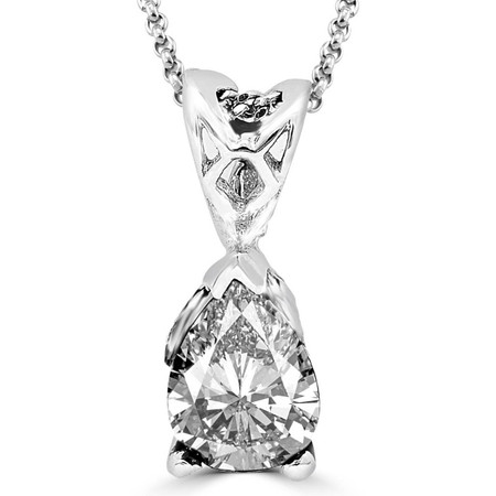 Pear Cut Diamond Solitaire 3-Prong Pendant with Chain in White Gold - #PPF-W