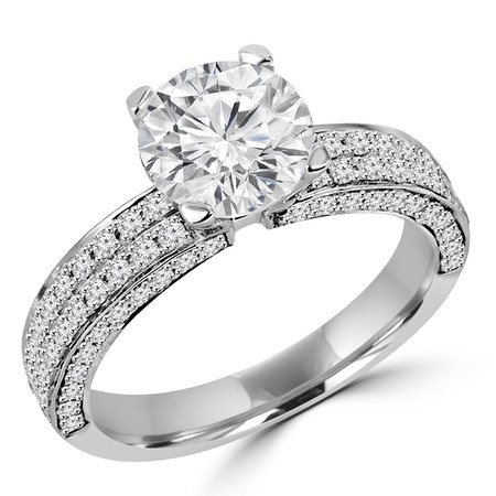 Round Cut Diamond Multi-Stone 4-Prong Engagement Ring with Round Diamond Pave Accents in White Gold - #HDR10077-W