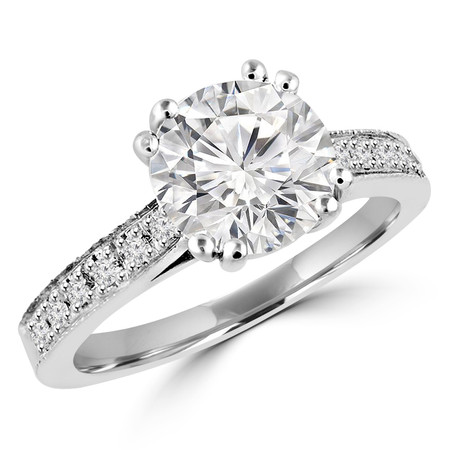 Round Cut Diamond Multi-Stone 4 Double-Prong Cathedral-Set Vintage Engagement Ring with Round Diamond Accents in White Gold - #SM2361-W