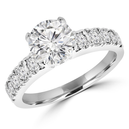 Round Cut Diamond Multi-Stone 4-Prong Engagement Ring with Round Diamond Scallop-Set Accents in White Gold - #LOCAL-NOVO-MD-R-W